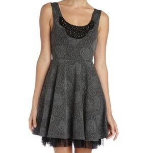 Free People Gray Beaded Fit & Flare Rose Dress